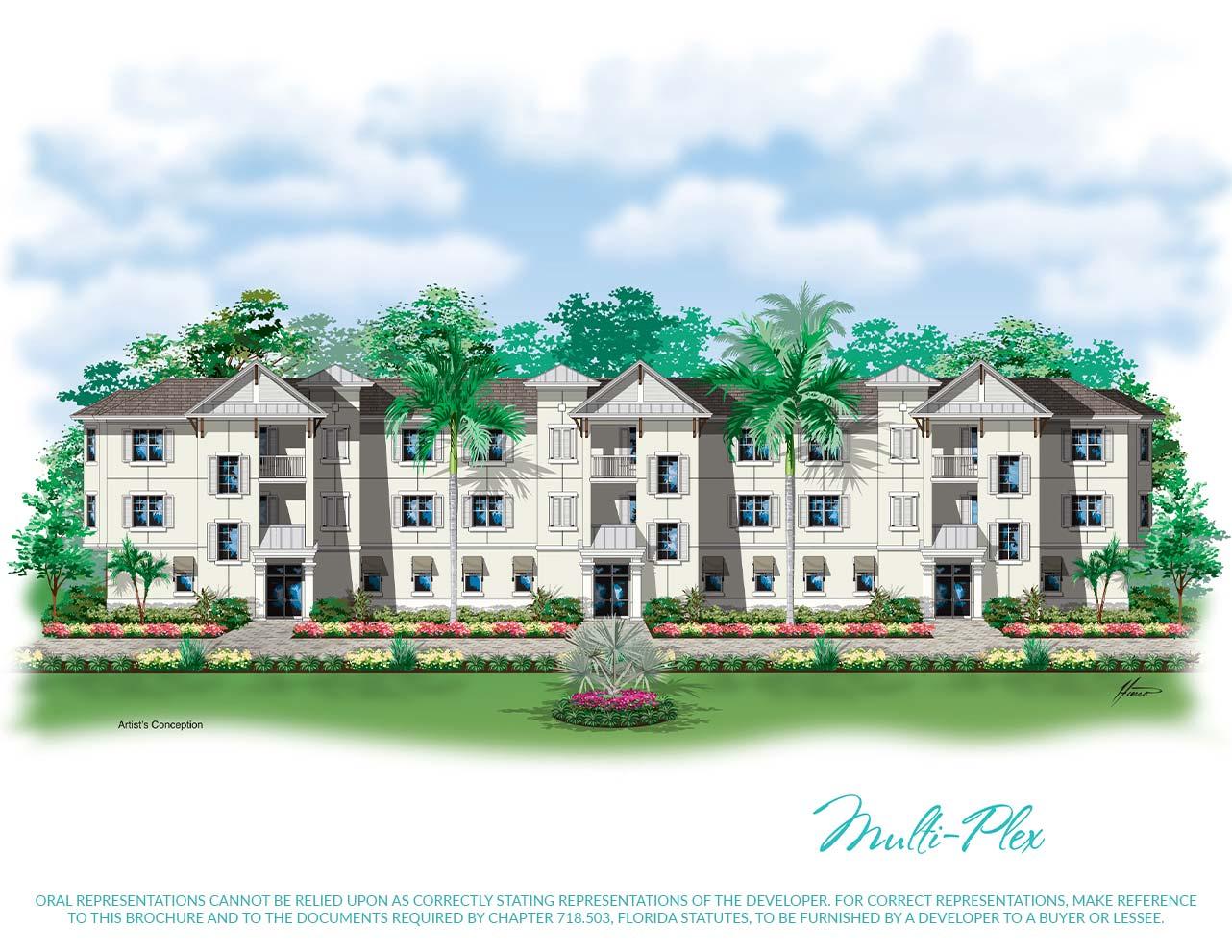 Multi-Plex Rendering | Antilles of Naples, Florida - West Indies Styled Residential Resort