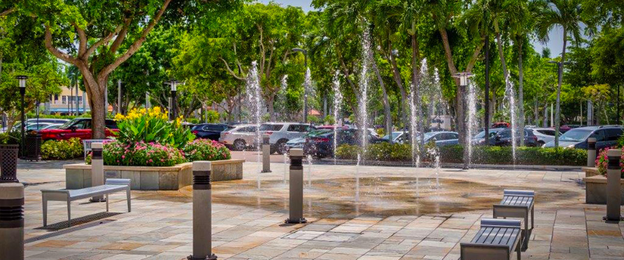 Fountains in a Naples Shopping Center | Antilles of Naples, Florida - West Indies Styled Residential Resort